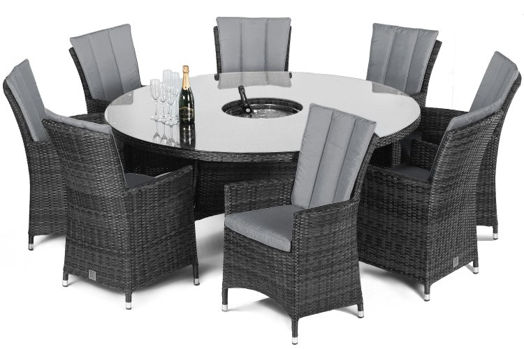 Maze Rattan 8 Seater La Round Dining Set With Bucket The